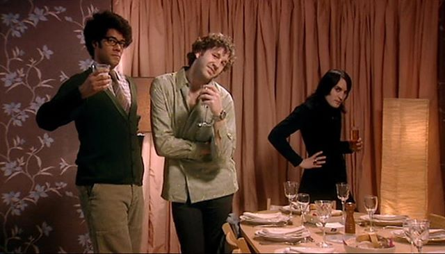 "We out here and feel like #socializing. #mondays #businessstance #oneofusisagmailqueen #oneofusisakiller [screenshot of IT Crowd's ""The Dinner Party""]"