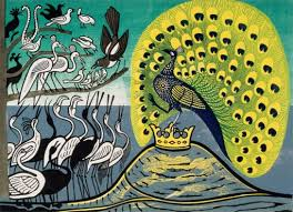 """Peacock and Magpies""  Linocut   Edward Bawden 1970"