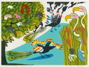 """Daw in Borrowed Feathers"" Edward Bawden 1970 Linocut"