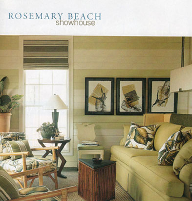 Marti Schmidt fabric prints adorn the wall in the Rosemary Beach Showhouse featured in Southern Accents Magazine 2001 Showhouse Guidebook.