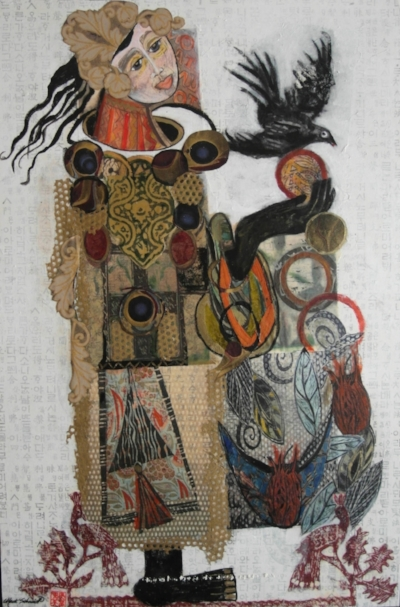 TALISMANS FIVE     MIXED MEDIA ON BOARD     SOLD