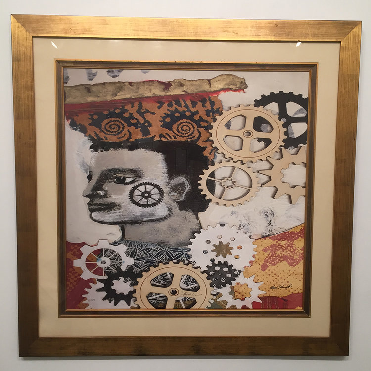 """NICOLAS - Archival Reproduction Print FRAMED, Hand Embellished 36"""" x 36"""""""