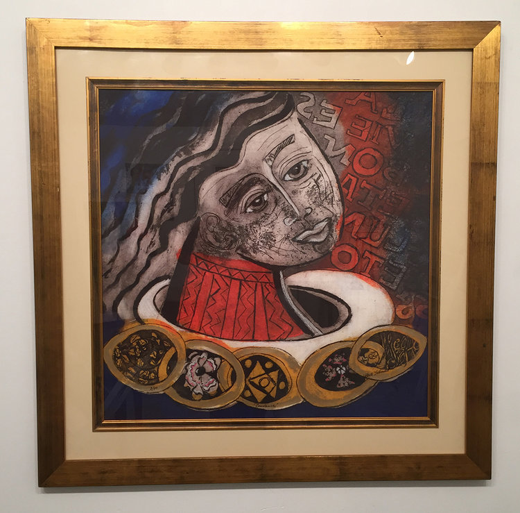 """CONSTANCE - Archival Reproduction Print FRAMED, Hand Embellished 36"""" x 36"""""""