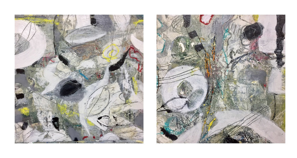 "REEF 5 DIPTYCH  24"" X 12 "" Mixed Media on Board"