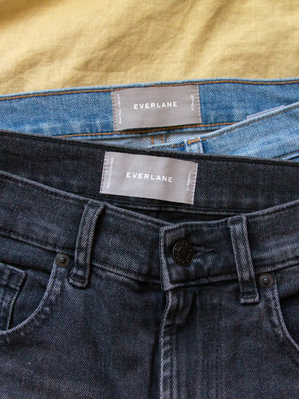 """Everlane denim - Because the weather has been cooling down a bit lately, I've been rocking a lot of denim! My favorite pairs of denim lately have been The Modern Boyfriend (which is currently on sale!!) and The Cheeky Straight Leg, which are both from Everlane. They're sustainably and ethically made in what they claim to be the """"world's cleanest denim factory,"""" which is great news for the planet and your moral compass.Although Everlane has a reputation for being on the more expensive side, their denim is priced in the same range as Urban Outfitters and Levi's, making them a great slow fashion alternative.If you do purchase your own pair of Everlane denim, I would recommend sizing down one or two sizes, depending on how snug you want them to fit around the seat.Everlane Denim*"""
