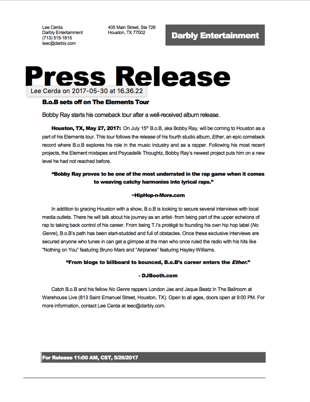 Click to enlarge and view the press release.