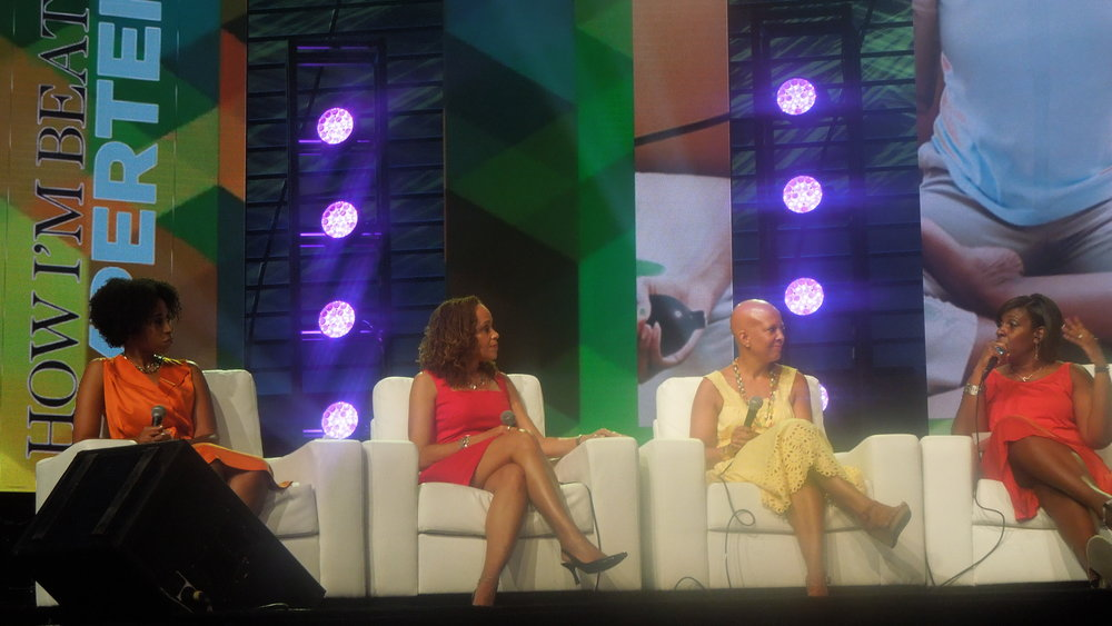"Talking ""Health Journeys and Transformations"" before more than 3,000 people. Dr. Aletha Maybank, left, myself, interior designer and author Sheila Bridges and moderator Sharon Boone, ESSENCE's health editor."