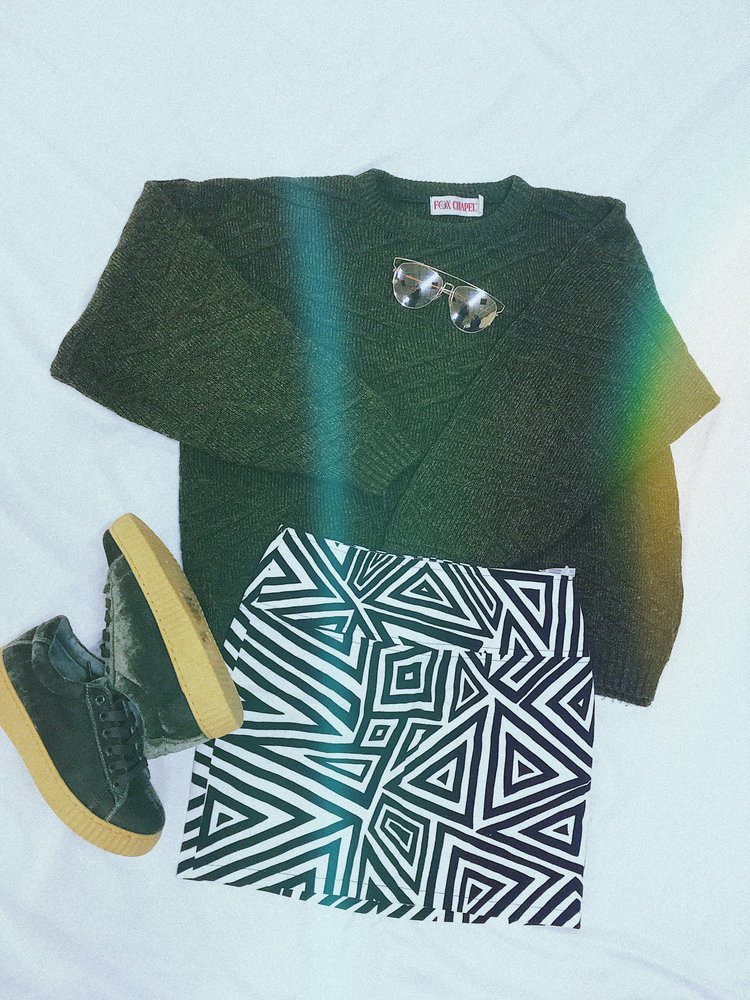 Sweater: $9.99, Skirt: $9.99