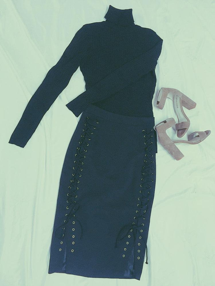 Turtleneck: $12.99, Lace-up skirt: $9.99