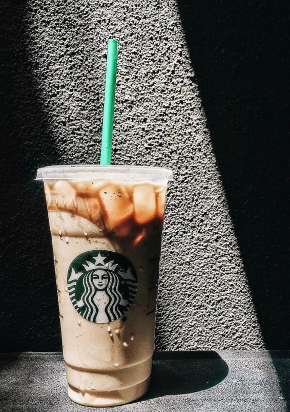 To save on calories and sugar, order it with nonfat milk and sugar-free syrup. The Skinny Flavored Latte contains 120 calories, 0 fat, 12g protein, 0g sugar and 150mg Caffeine.   Photo via Starbucks