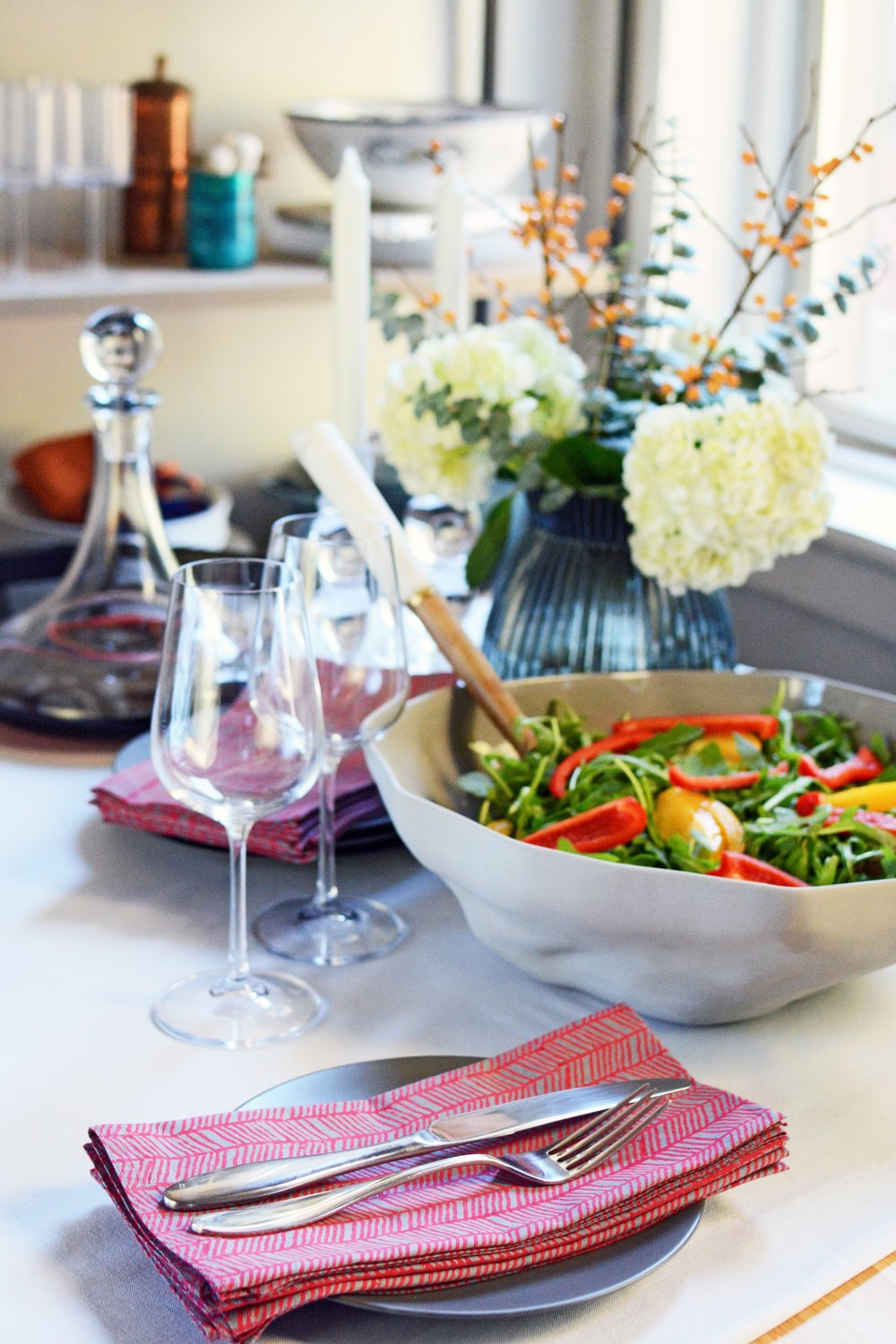 Salad bowl, serving tools, and napkins available at evergreenandlime.com