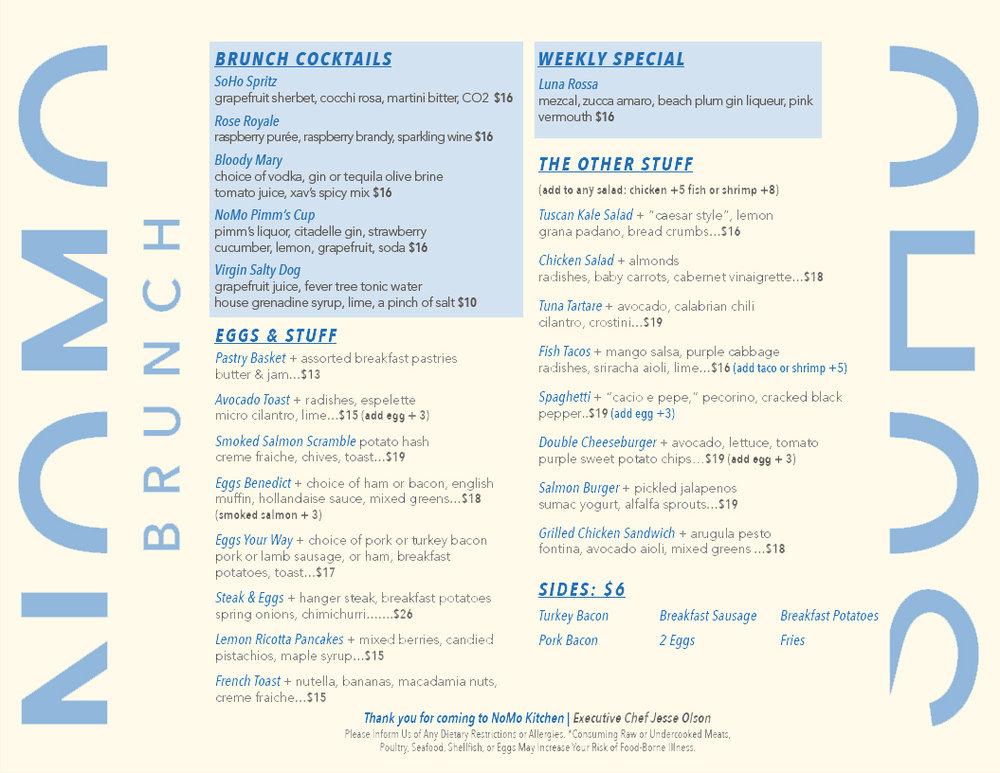 Old brunch menu