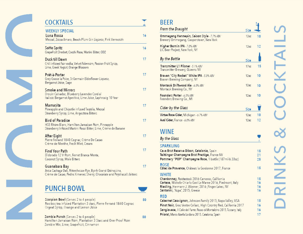 Old drinks menu
