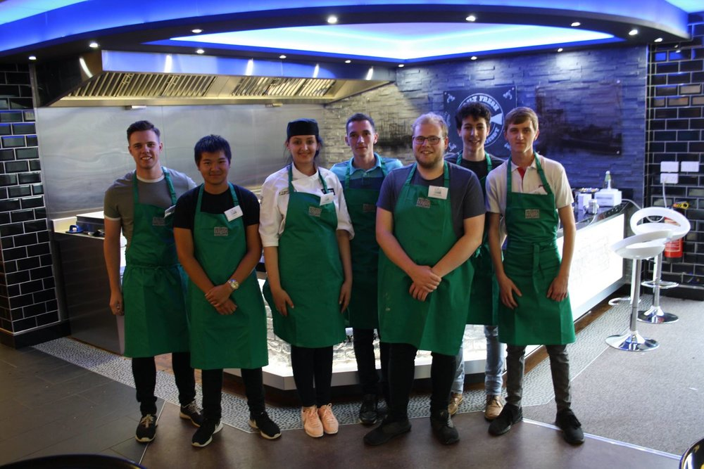 The green aprons team for the 'cook off'.