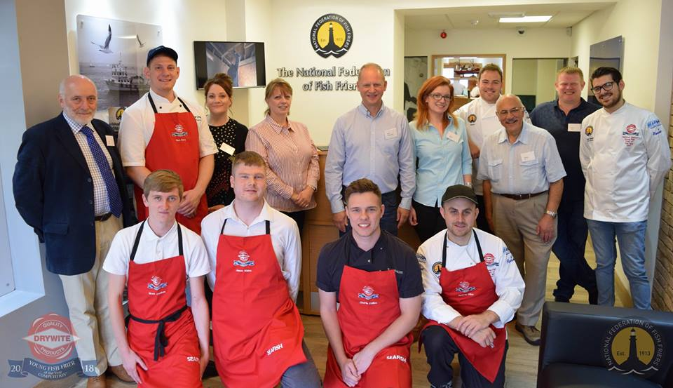 The first 5 semi-finalists and judges pose together at the National Federation of Fish Friers offices in Leeds.
