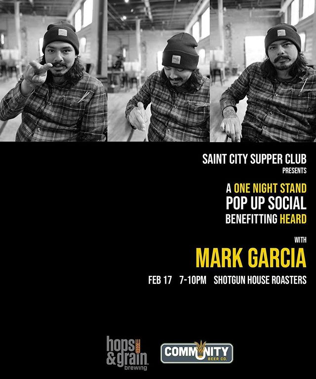 We're excited to kick off our One Night Stand pop-up series, benefitting @heard_org , with the one and only Mark Garcia.  One Night Stands are open to the public...no tickets necessary.  Come, get in line early, listen to good music, and enjoy complimentary beer from @communitybeerco and @hopsandgrain ...because we're only open for 3 hours unless we sell out first. #wildcat