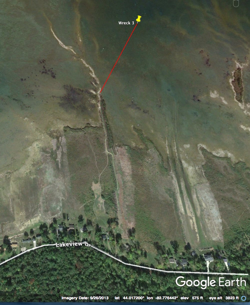 Wreck is 1,300 ft. from Oscabe Point on a bearing of 28 degrees. A trail to the point may provide access. Public parking is not verified. Please respect private property.
