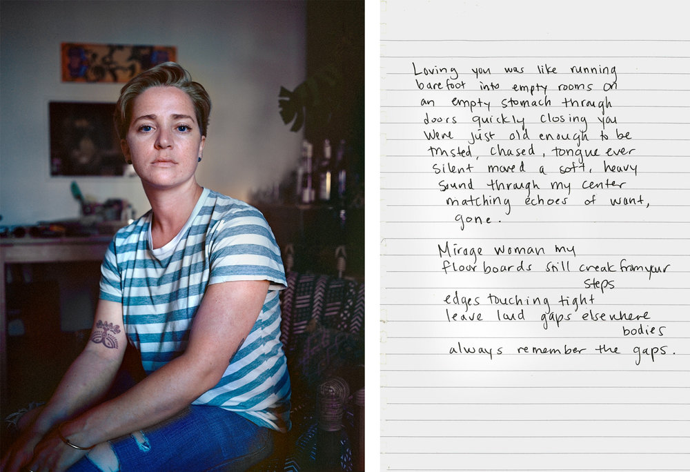 "from Camila Svenson's series, ""100 Cartas de Amor,"" in which she asks women who identify as lesbian to write her a love letter. The letter, besides being an object that synthesizes the experience of loss and rupture, also reflects about clichés and linguistic standards used when we talk about love.  http://www.camilasvenson.com/100-love-letters-for-whoever-cares"