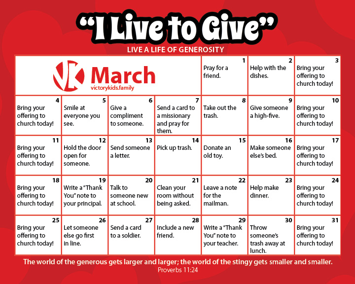Month of Generosity Calendar