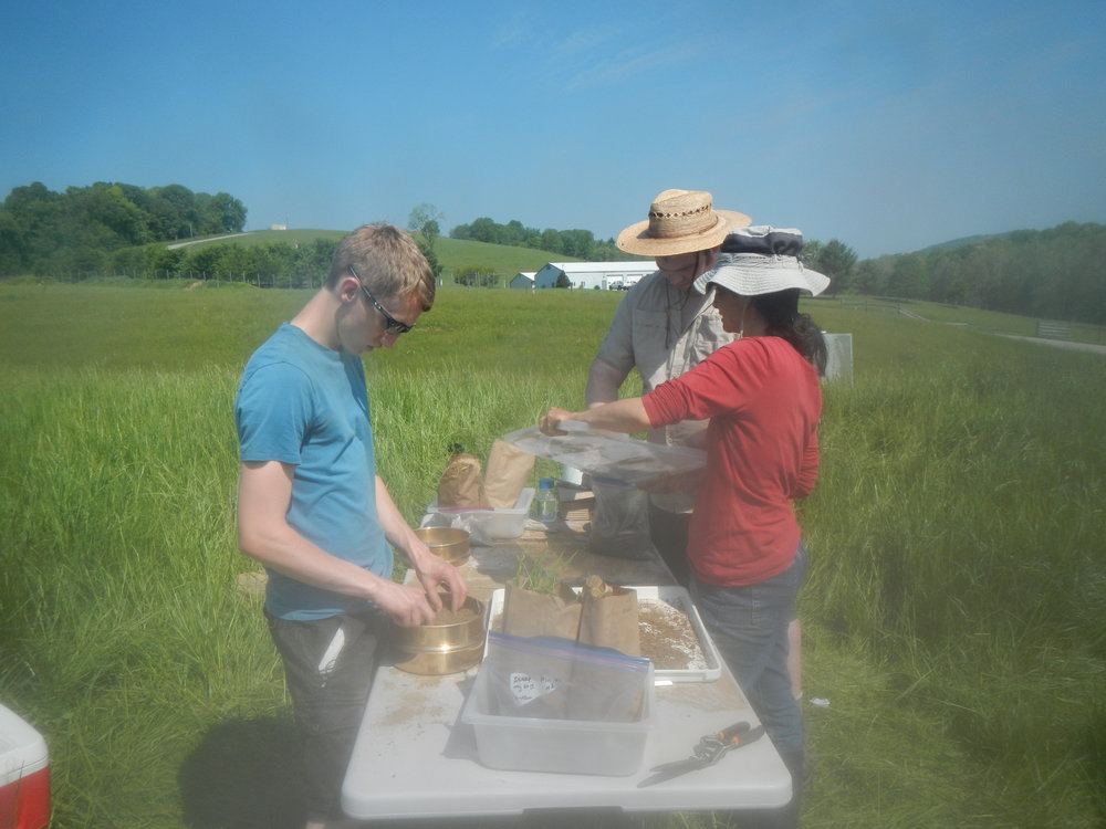 Josh, Steve, and Steffany processing samples during a stable isotope pulse-chase at the S.C.A.R.E. site.