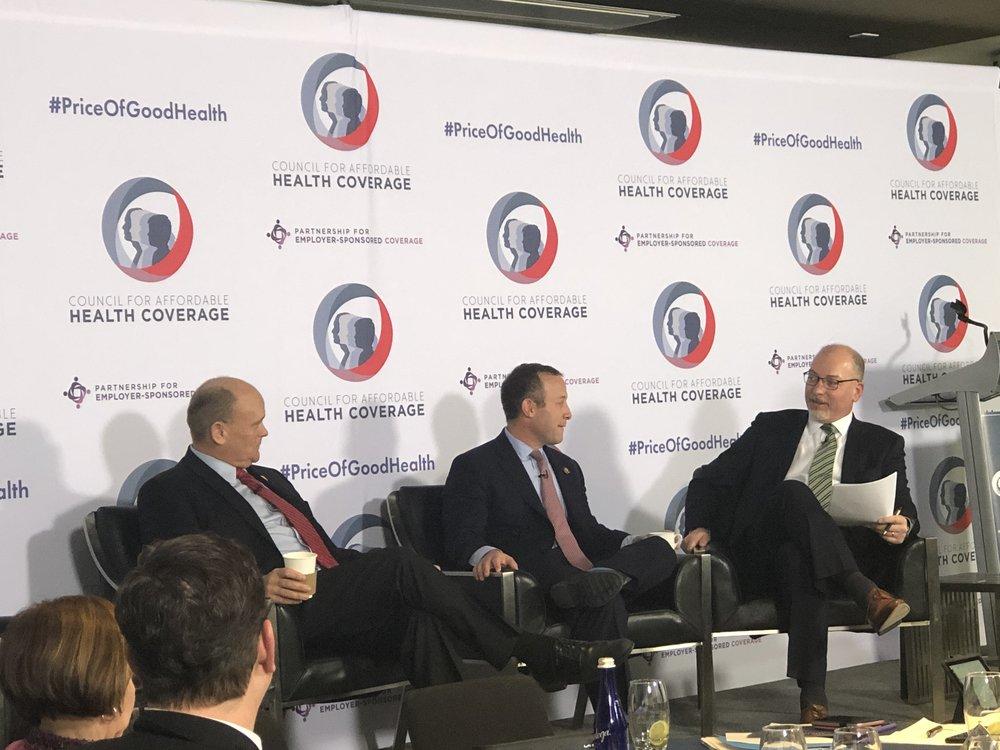 L-R: Congressman Tom Reed (R-NY), Congressman Josh Gottheimer (D-NJ), and CAHC President Joel White