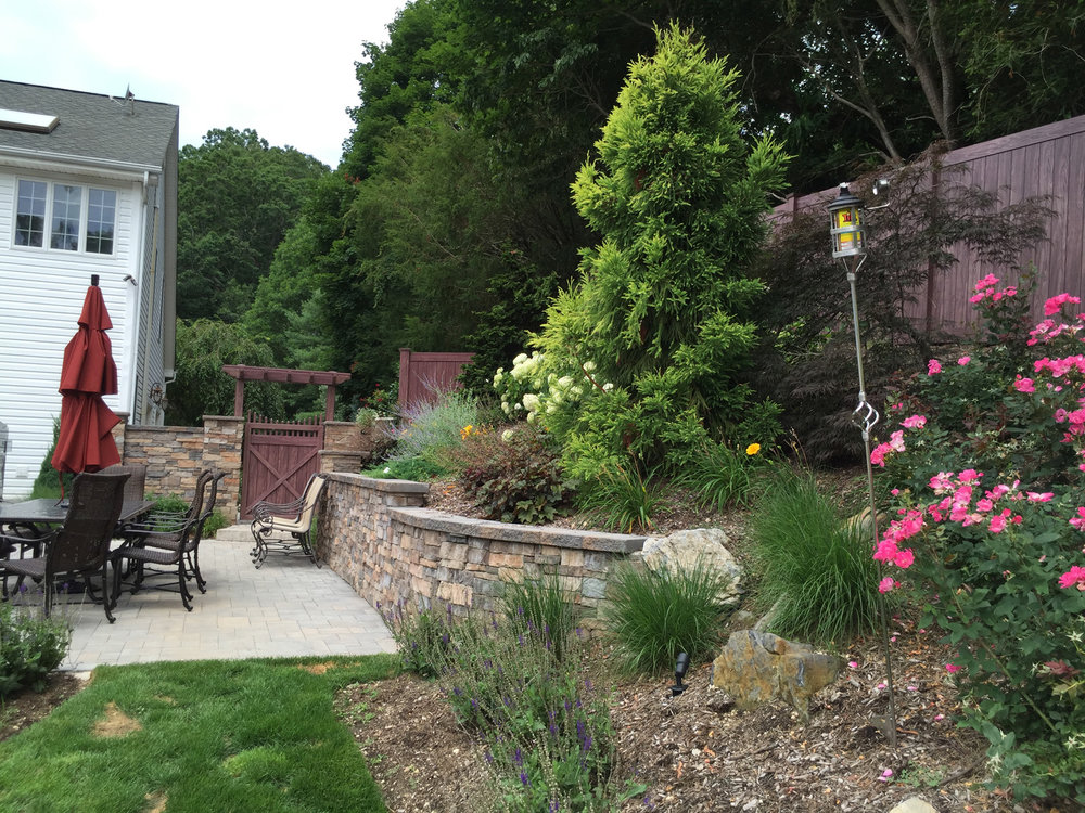 Professional landscape design with plantings in Long Island, NY