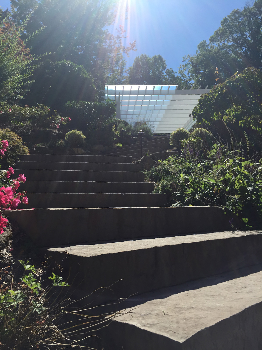 Landscape design with paved steps in Long Island, NY