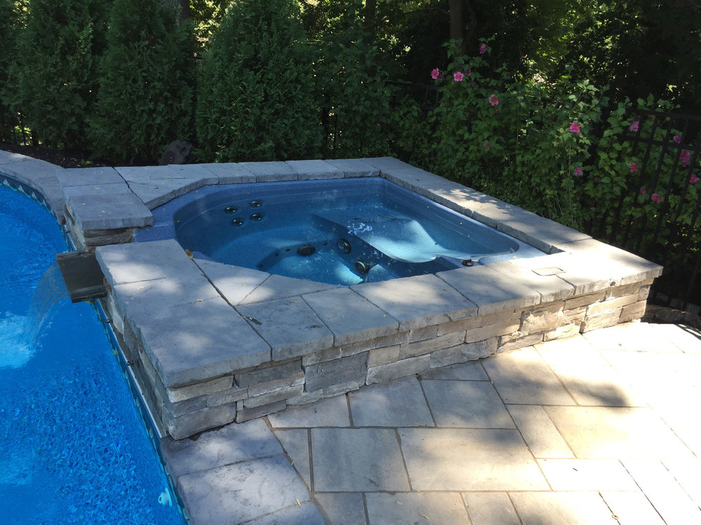 Landscape design with hot tub in Long Island, NY