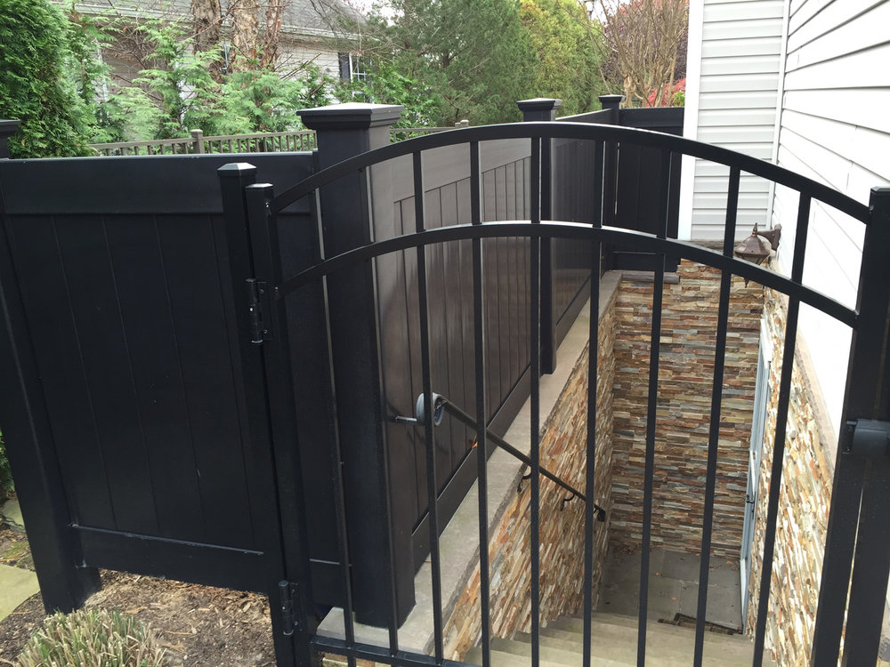 Landscape design with aluminum gate in Long Island, NY