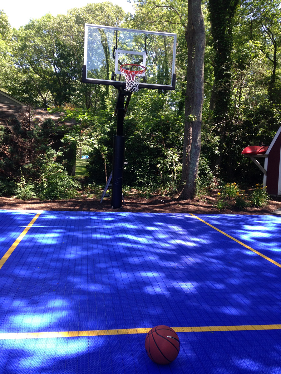 Professional landscape design with basketball court in Long Island, NY