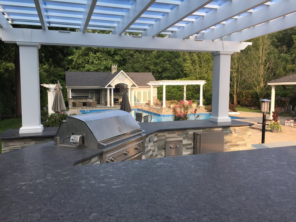Outdoor kitchen pergola design in Long Island, NY