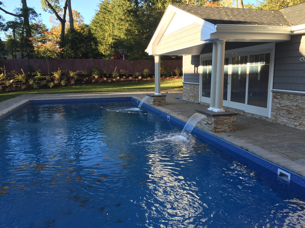 Professional pool water feature landscape design company in Long Island, NY