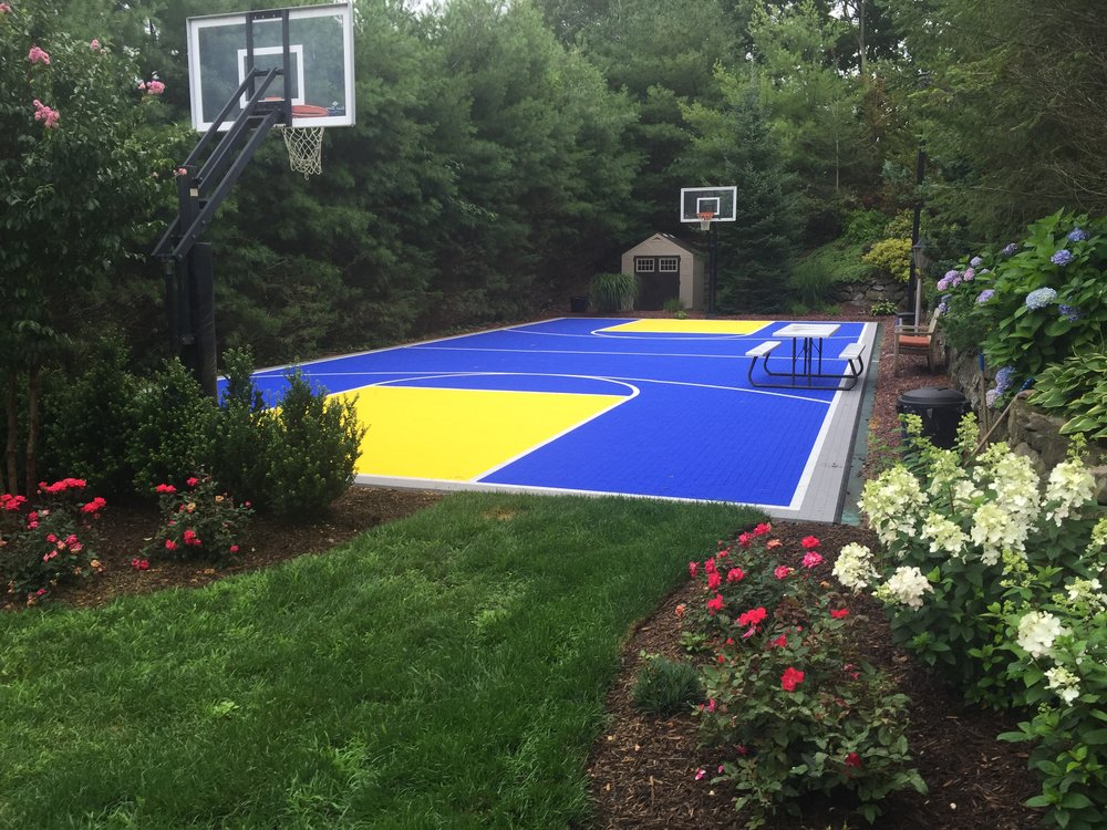 Professional tennis court landscape design in Long Island, NY