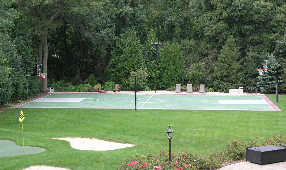 Top landscape design with tennis court in Long Island, NY