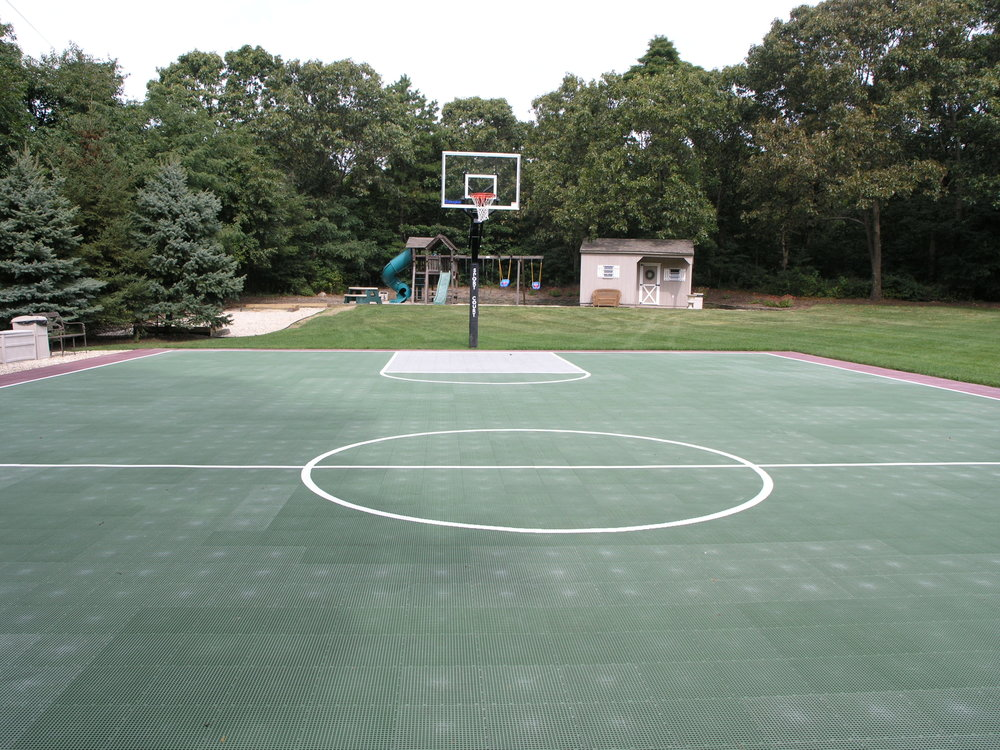 Professional basketball court landscape design in Long Island, NY