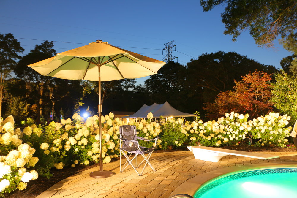 Landscape design with outdoor LED lighting in Long Island, NY
