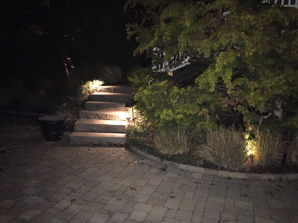 Landscape design with landscape lighting in Long Island, NY