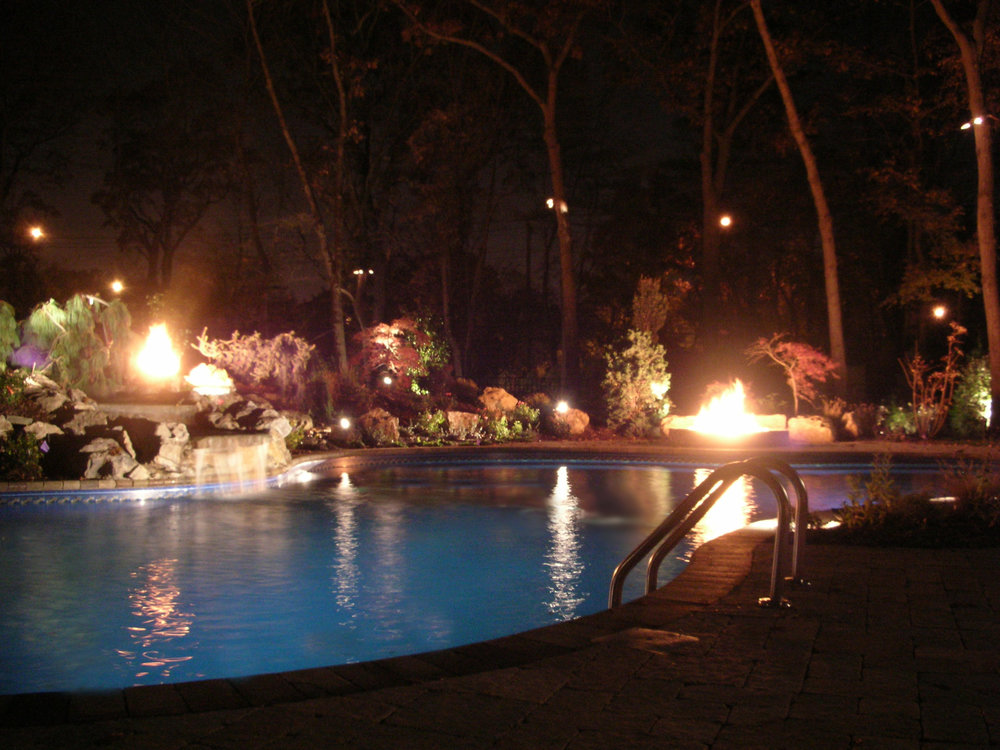 Professional techo-bloc fire pit landscape design company in Long Island, NY