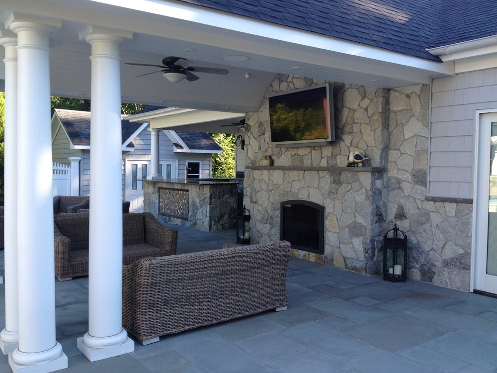 Professional outdoor fireplace landscape design company in Long Island, NY