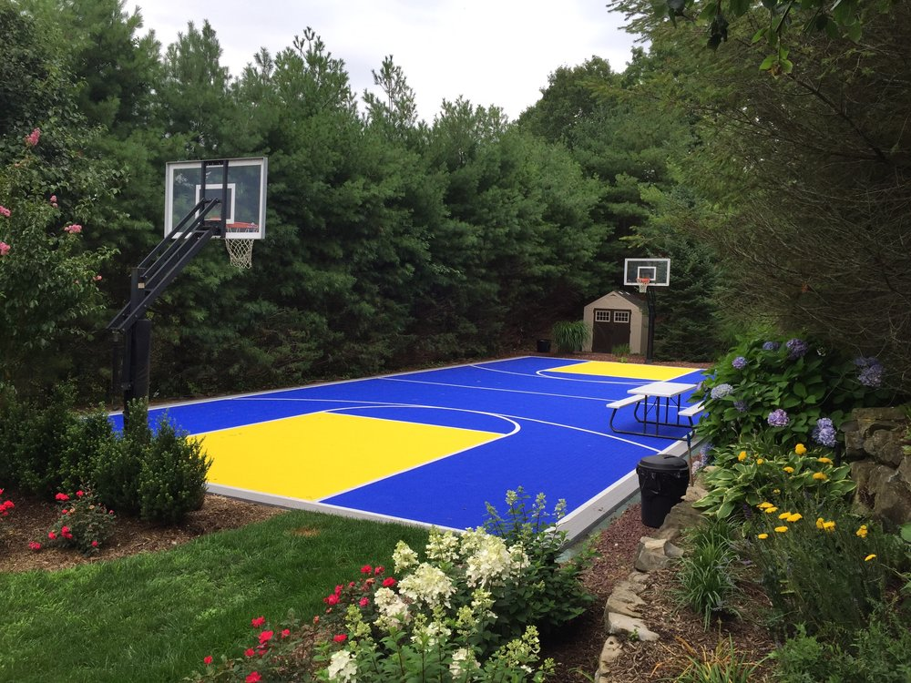 Landscape design with basketball court in Long Island, NY