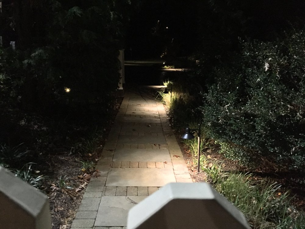 Landscape design with front entrance lighting in Long Island, NY
