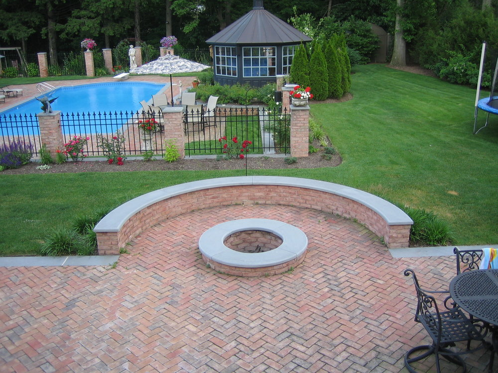 Professional unilock fire pit landscape design company in Long Island, NY