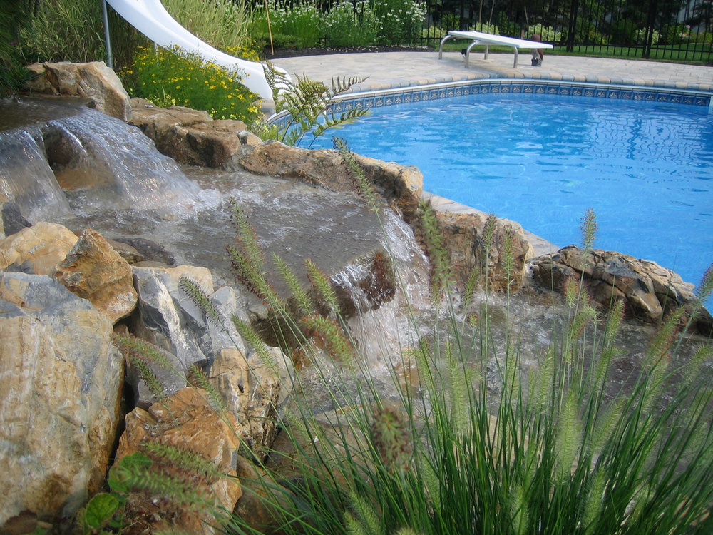 Professional landscape design with pond waterfall in Long Island, NY