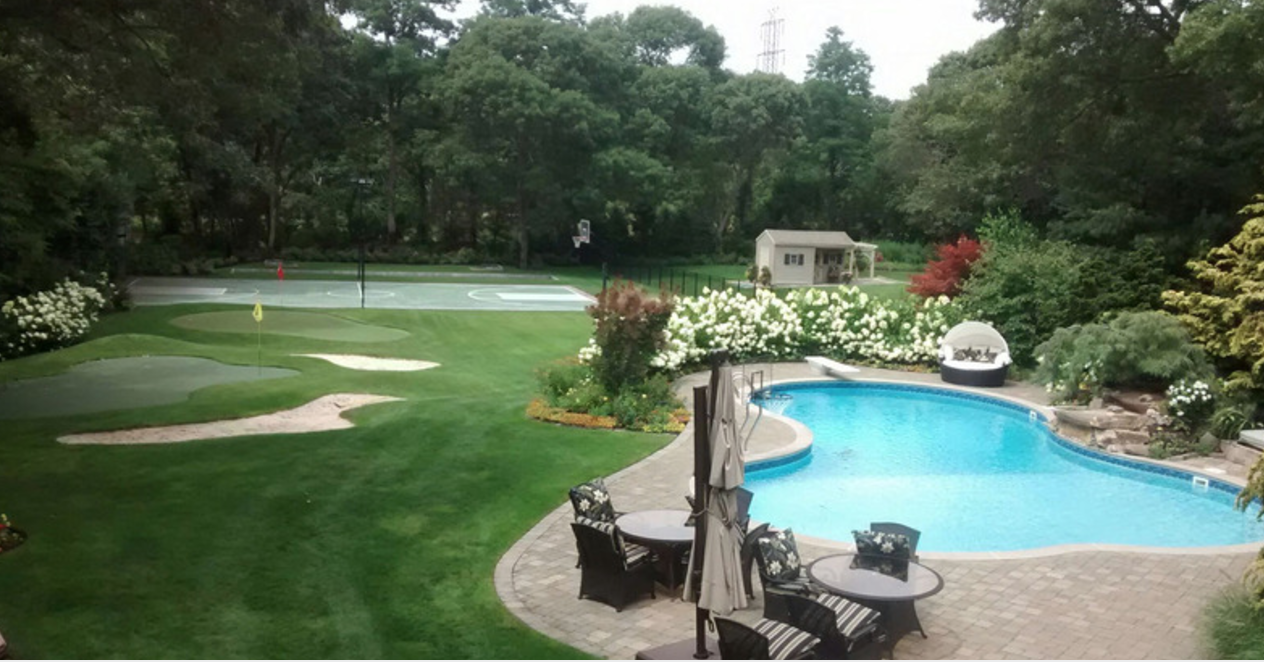 centereach ny backyard landscape resort with patio swimming