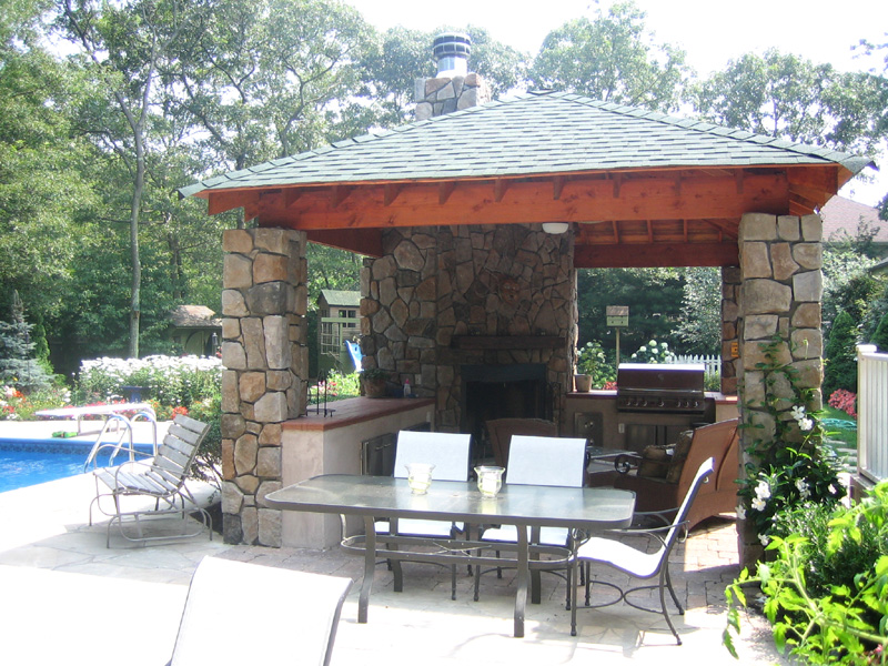 Landscape design with pool house in Long Island, NY