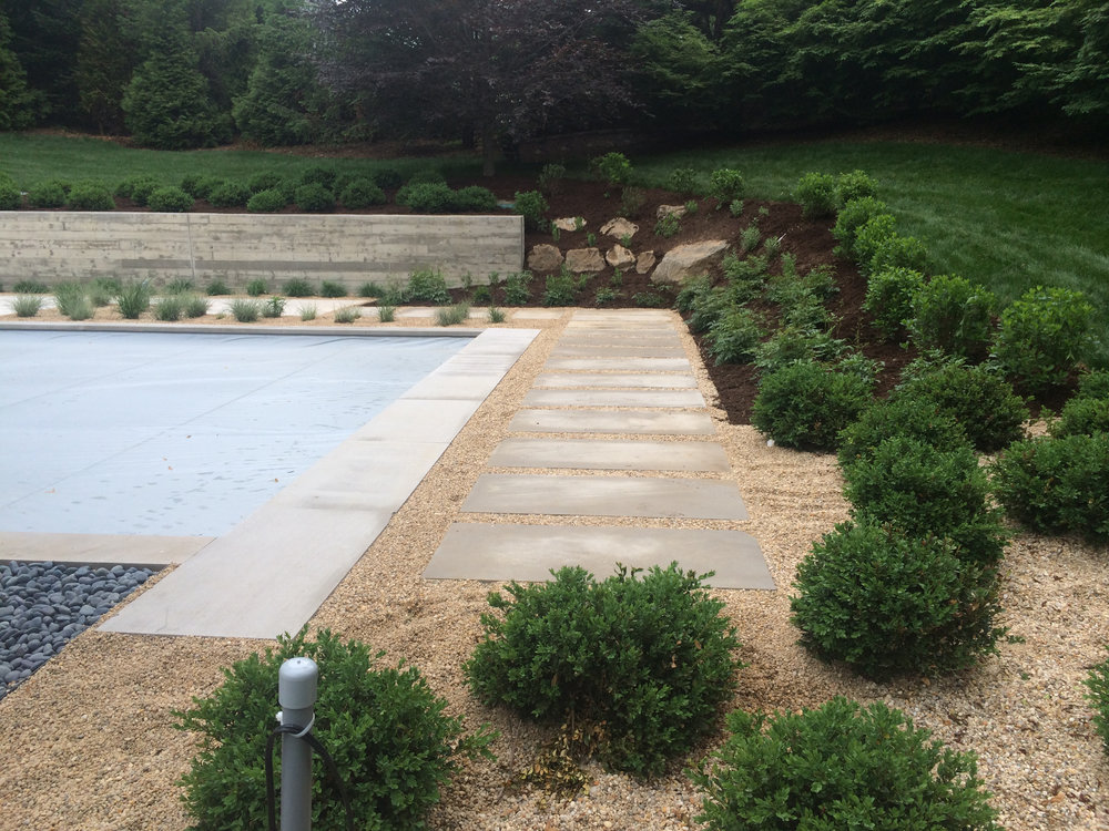 Landscape design with plantings in Long Island, NY