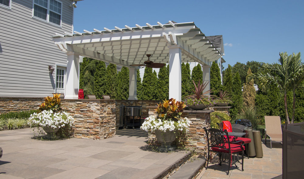Outdoor dining area with techo pro in Sag Harbor, NY