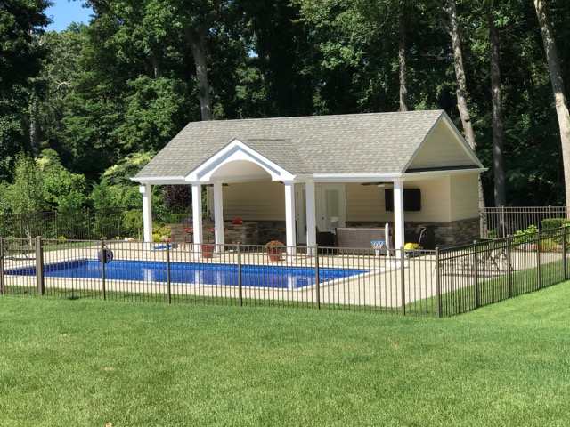 Landscape design with a pergola in Long Island, NY