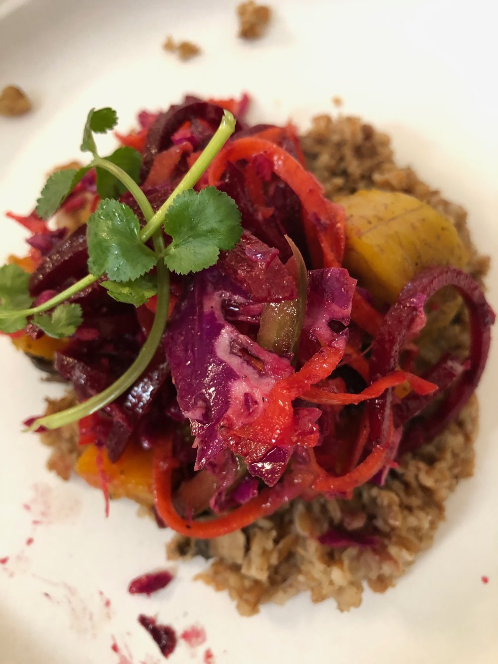 Hearty bulgur and roasted and marinated veggies from  Brooklyn Packers  and a team of community chefs.