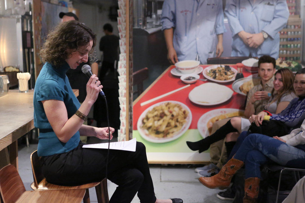 Reading a personal essay aloud at MOFAD in December. I love that storytelling is part of so many cultures — just like dumplings!